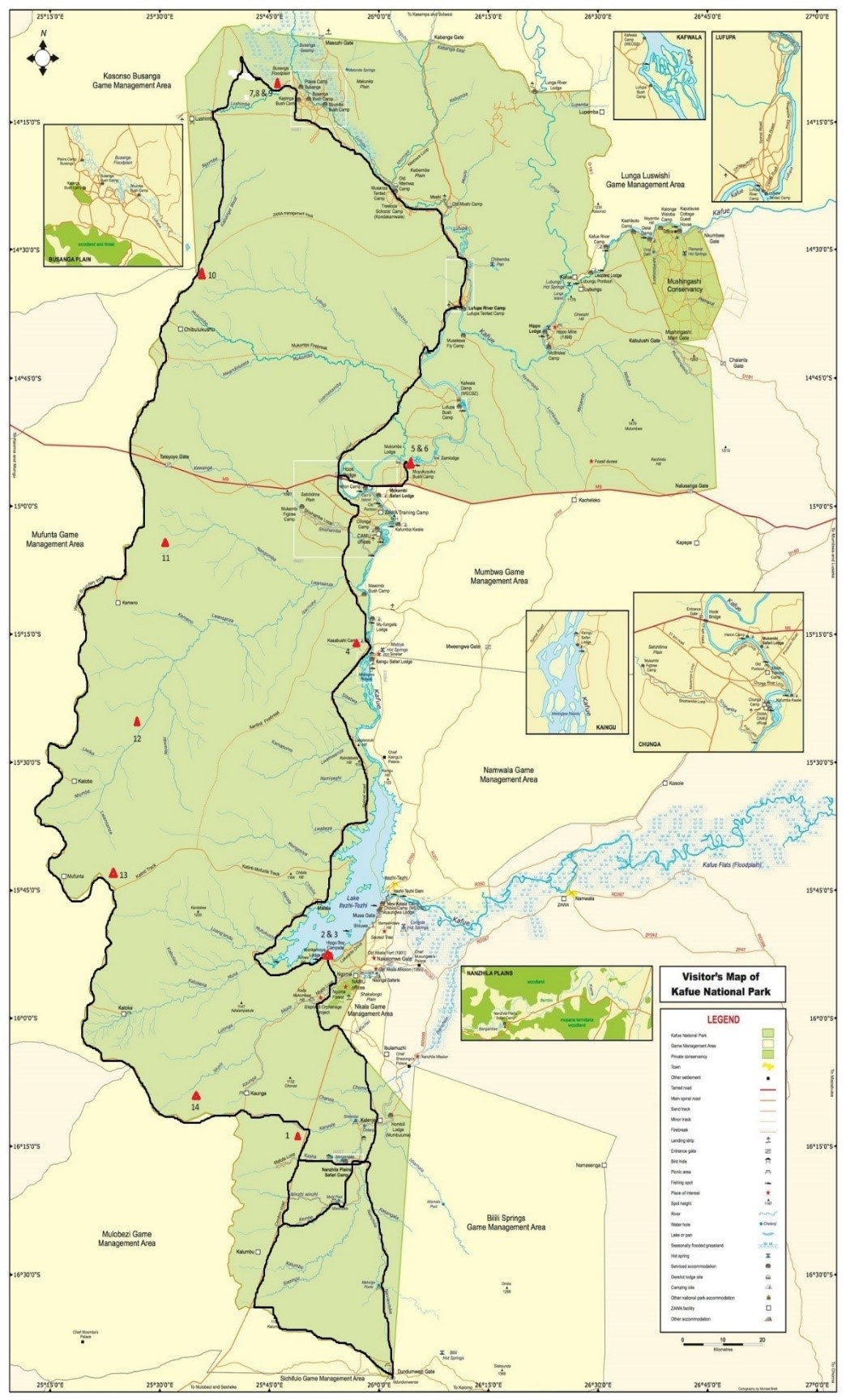 Map of Kafue National Park, Zambia
