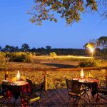 A small deck with tables and chairs with view of the African bush at Elephant Valley Lodge