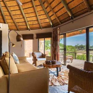 A suite view over the African bush at Sable Camp