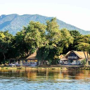A safari camp on the banks of the Zambezi River