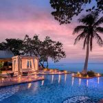 The swimming pool at sunset