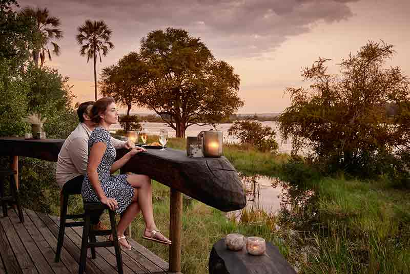 Luxury safari meals on the deck at River Lodge
