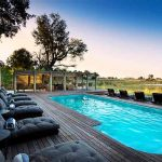 A swimming pool with sun loungers in the Okavango Delta