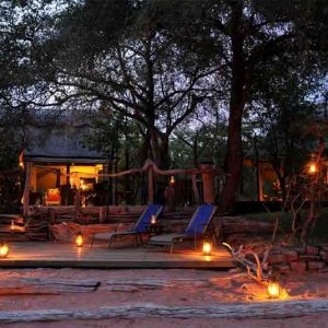Changa Safari Camp main lodge and fire area