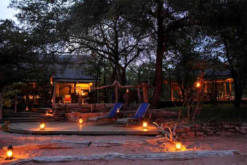 Changa Safari Camp main lodge and fire area