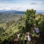 People on a mountain slope in Uganda
