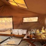 Interior view of the guest tent bathroom area at Chobe Under Canvas
