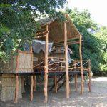a wooden hut on stilts in amongst trees
