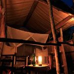 a wooden hut with double bed lit up at night