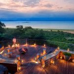 Luxury safari sunset from the deck at Bumi Hills