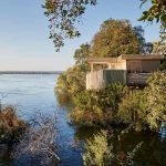 Expansive view of the Zambezi River with a guest suite