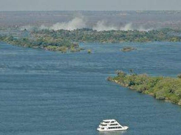 boat, cruise, water, smoke, africa, livingstone