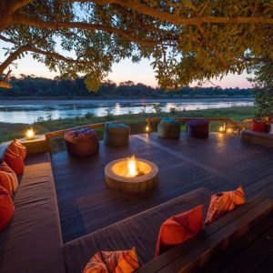 kapamba, deck, river, fire, sunset, bush, africa, south luangwa, african safari experts