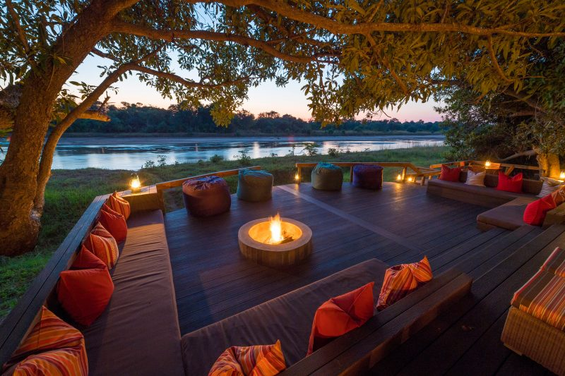 kapamba, deck, river, fire, sunset, bush, africa, south luangwa, african safari experts