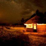 grass hut, night time, kuyenda, africa, zambia, south luangwa, african safari experts