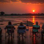 sunset, river, africa, safari