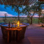 Bath tub on a wooden deck looking out to trees and the African bush