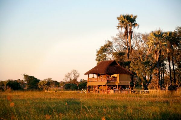 Wooden lodge called Gunns Camp under palm trees overlooking water plain
