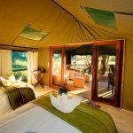 Room in meru tent in Botswana overlooking the floodplain