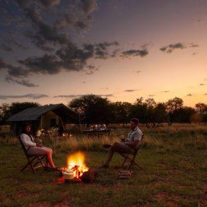 tent, sunset, bush, fire, safari, camping, glamping, botswana, mobile, african safari experts