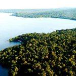 An earial view of Rubondo Island Camp