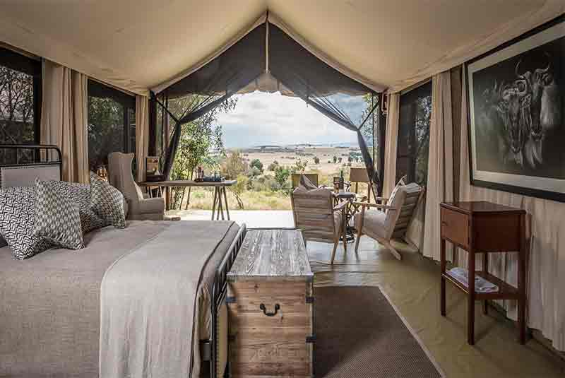 Entim Mara Camp room interior look out over the river