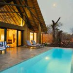 A private plunge pool in front of a guest suite at Kapama South Camp