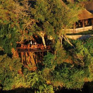A lodge and deck hidden amongst some trees on the banks of the Kavango River