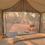 View from insiude one of the tents at Chobe Under Canvas looking out to the bush