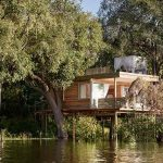 River view of guest room at Victoria Falls Island Treehouse