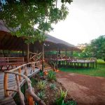 The main lodge and deck at Bakers Lodge