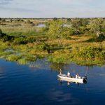 A boat in a lagoon in the Okavango