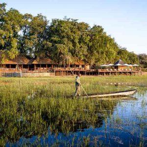 A lodge on an island in the okavango