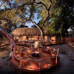 Outdoor dinner deck at Khwai Bush Camp