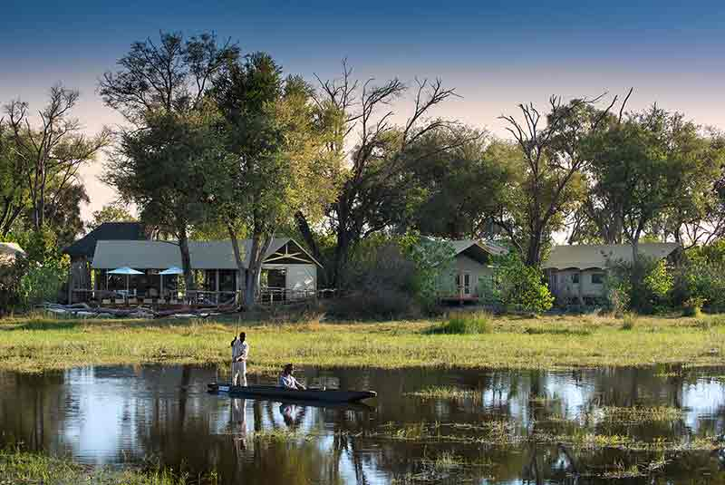 Khwai tented camp with water and mokoro excursion in front