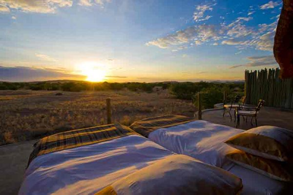 two beds on a chalet roof at Doro Nawas star bed experience