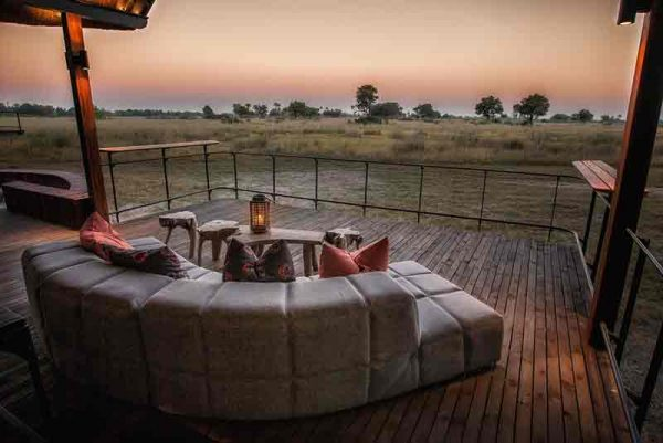 View froma wooden deck over the plains of Africa at Chitabe