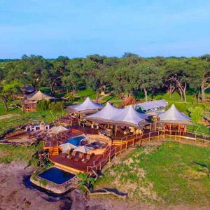 An aerial view of a safari camp