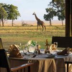 A table laid for breakfast with a Giraffe in the background