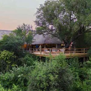 Aerial view of Londolozi Pioneer Camp set on a hillside amongst trees'
