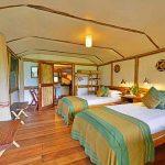 A twin room at Buhoma Lodge