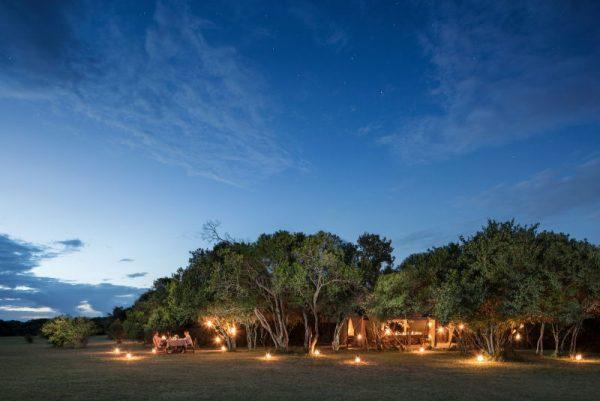 Encounter Mara safari camp at night