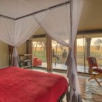 Kimondo guest tent interior with view of the plains
