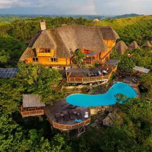 An aerial view of Kyaninga Lodge in Uganda