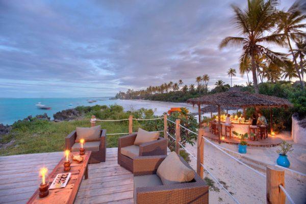 Matemwe lodge deck loungers at sunset