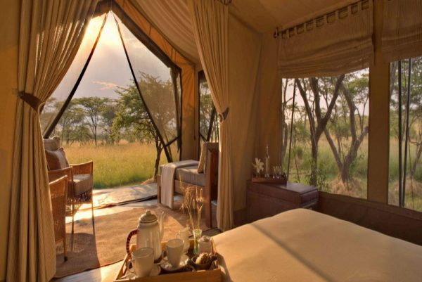 Interior of guest tent at Naboisho looking outside