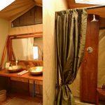 Olakira double vanity in en suite guest bathroom with shower