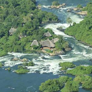 Aerial view of wildwaters lodge in uganda