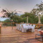 Dinner table on wood deck
