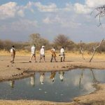 People walking with armed ranger past water hole
